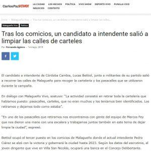 Nota en CarlosPazVIVO a Lucas Bettiol por retirar la cartelería de la campaña y limpiar su ciudad