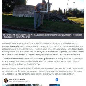 Nota en La nueva Mañana a Lucas Bettiol por retirar la carteleria de la campaña y limpiar su ciudad