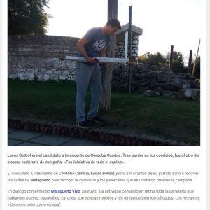 Nota en AG Notcias a Lucas Bettiol por retirar la carteleria de la campaña y limpiar su ciudad