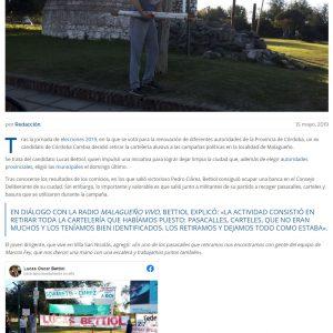 Nota en Hablando claro a Lucas Bettiol por retirar la carteleria de la campaña y limpiar su ciudad