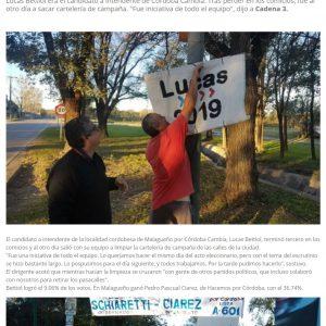 Nota en 90 radio a Lucas Bettiol por retirar la carteleria de la campaña y limpiar su ciudad