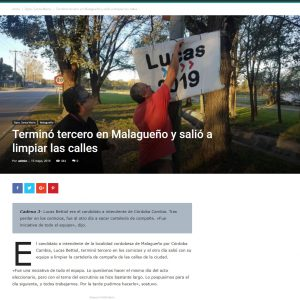 Nota en Redacción Alta Gracia a Lucas Bettiol por retirar la carteleria de la campaña y limpiar su ciudad