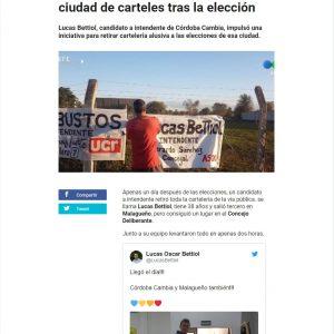 Nota en Telefe Córdoba a Lucas Bettiol por retirar la carteleria de la campaña y limpiar su ciudad