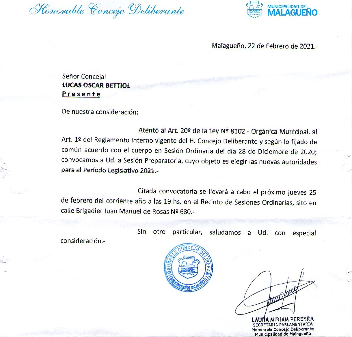 22/02/2021 - Convocatoria Sesion Preparatoria HCD 2021