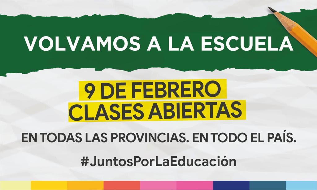Volvamos a la Escuela - 9 de febrero - Clases Abiertas