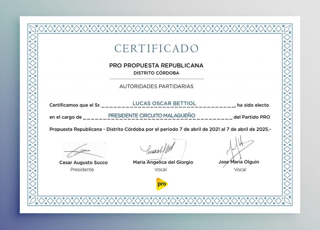 Honor- Certificado PRO Presidente Circuito Malagueño Lucas Bettiol